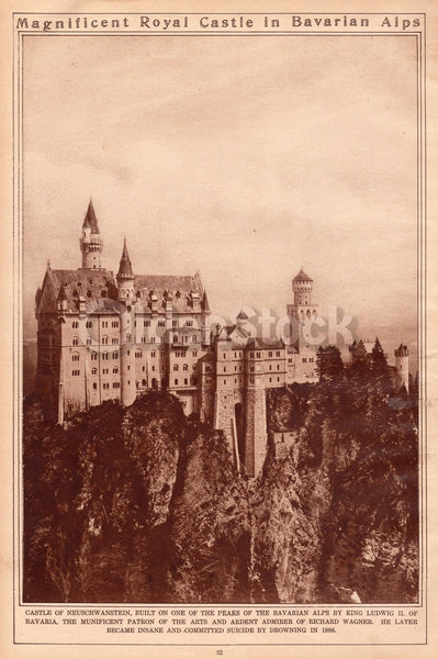 Castle Neuschwanstein Germany King Ludwig II Antique News Photo Poster Print 1921