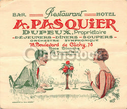 A. Pasquier Diner Restaurant Hotel Marcadet France Antique Graphic Advertising Card