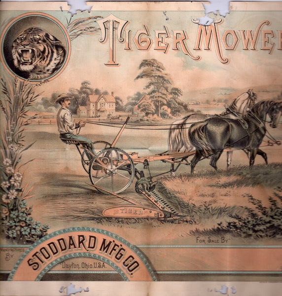 Stoddard Tiger Mower Dayton Ohio Antique Lithograph Graphic Advertising Flyer