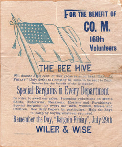 Bee Hive Dry Goods Cass Indiana Post-Civil War 160th Volunteers Broadside