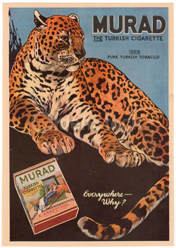 Murad Turkish Cigarettes Antique Graphic Advertising Leopard Print 1914
