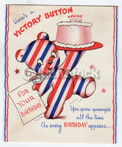 WWII Victory Bear Patriotic in Old Age Vintage Graphic Art Birthday Greeting Car