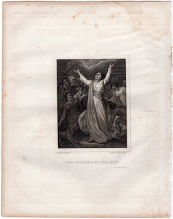 The Stoning Martyrdom of Stephen Antique Religious Bible Engraving Print 1846