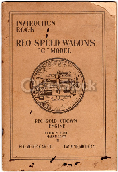 REO Speed Wagons Model G Car Manual Antique Automobile Instruction Book 1929