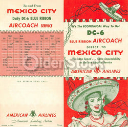 American Airlines DC6 Mexico City Flights Vintage Graphic Advertising Brochure F