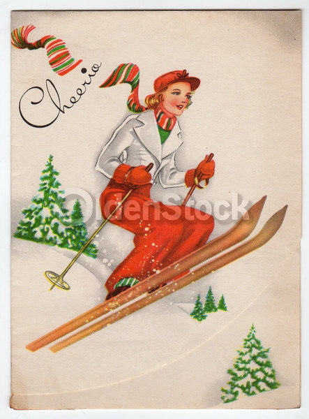 Cheerio! Woman Snow Skiing Vintage Graphic Art Christmas Greeting Card