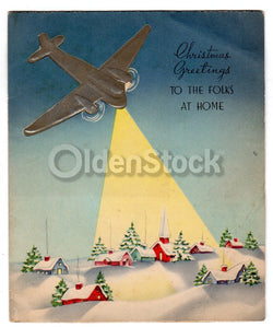 WWII US Air Force Bomber Plane Vintage Graphic Art Christmas Greeting Card