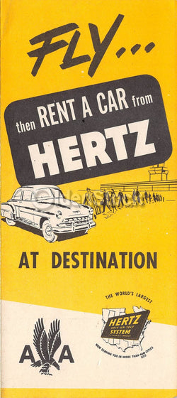 American Airlines Routes Hertz Car Rentals Vintage Graphic Advertising Brochure