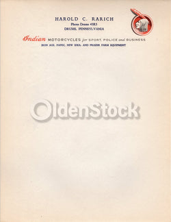Indian Hendee Motorcycle Dealer in Pennsylvania Antique Advertising Letterhead