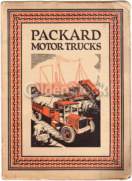 Packard Automobile Trucks Large Antique Lithograph Advertising Brochure Book