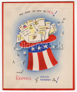 Benjamin Franklin Quote Vintage WWII Military Service Soldiers Patriotic Greeting Card