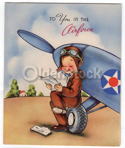 US Military Air Force Pilot Appreciation Vintage WWII Patriotic Greeting Card