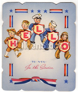 Uncle Sam's Boys in the Armed Service Vintage WWII Victory Patriotic Greeting Card