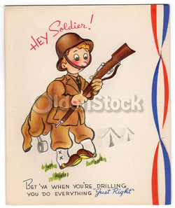 US Army Sexual Innuendo Soldier Appreciation Vintage WWII Victory Patriotic Greeting Card