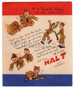 Army Life Soldier's Appreciation Humor Vintage Graphic Art WWII Patriotic Greeti