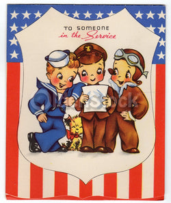 US Military Soldier's Appreciation Vintage Graphic Art WWII Victory Patriotic Greeting Card