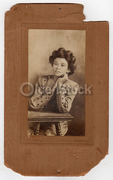 Lovely African American Black Woman Austin Texas Antique Cabinet Photo on Board