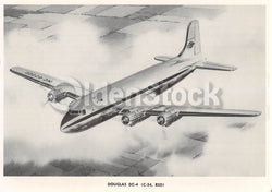 Douglas DC-4 (C-54, R5D) Transport Airliner Vintage Aviation Spotters Photo Card