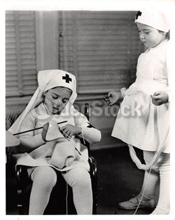 Cute Little Girls Red Cross Nurses Vintage WWII Medical News Press Photo