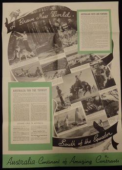 Australian South Seas Vacations Vintage 1940s Travel Advertising Poster Brochure