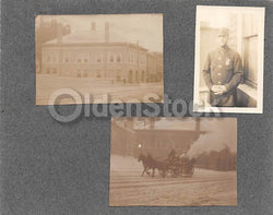 Antique Fire Engine Wagon in the Snow & Police Officer Antique Snapshot Photos