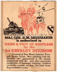 Vietnam Recruitment Poster General Shoemaker 1st Cavalry at Fort Hood 1965