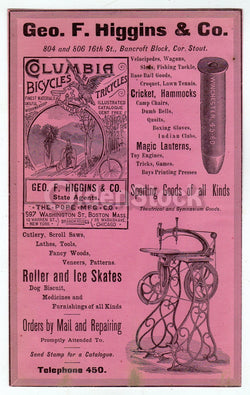 Columbia High Wheel Bicycles Winchester Bullet Antique Graphic Advertising Flyer