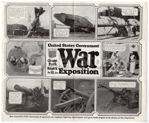 WWI US Government War Exposition Grant Park Chicago Fair Propaganda Flyer 1918