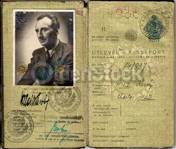 Hungarian Sculptor Cancelled Passport Travel Document German Axis Visas 1943