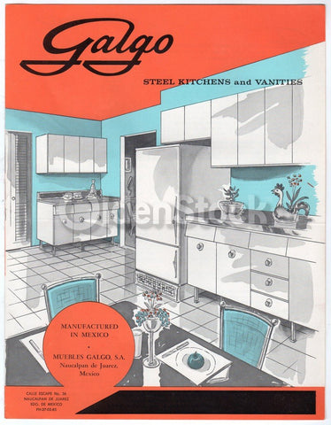 Galgo Steel Kitchen Bath Cabinets Vintage 1960s Graphic