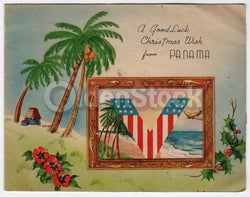 A Christmas Wish For You Vintage WWII Panama Victory Greetings Card