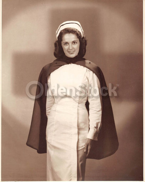 Lovely Boston Fashion Model Vintage 1950s WWII Red Cross Nurse Modeling Photo
