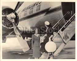 American Airlines Stewardess & Boston Pin-up Model Vintage 1950s Runway Photo