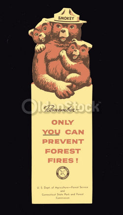 Smokey the Bear US Parks Service Vintage Graphic Advertising Bookmark