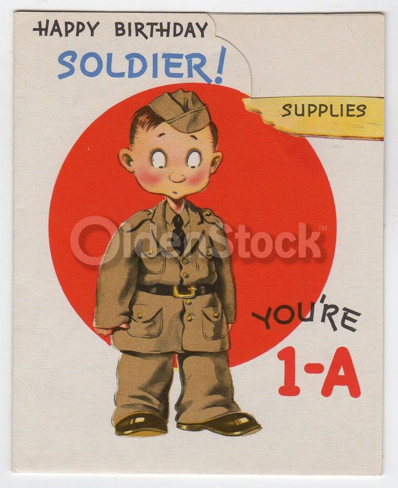 Happy Birthday Soldier Vintage WWII Graphic Art Army