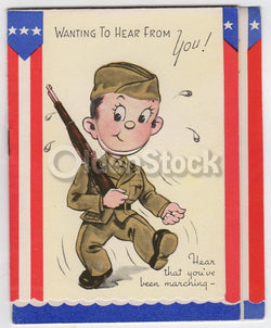 Cute Military Servicemen Vintage WWII Homefront Patriotic Greetings Card