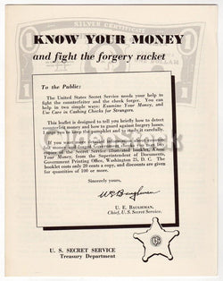 U.S. Secret Service Treasury Department Forgery Racket Educational Booklet 1959