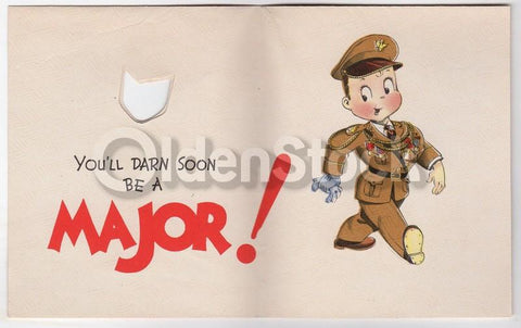 Us Army Soldier Vintage Wwii Graphic Art Happy Birthday Card K