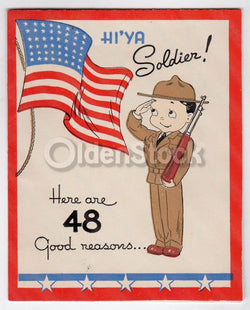 Patriotic Pride Vintage WWII Proud of You Soldier Military Greeting Card