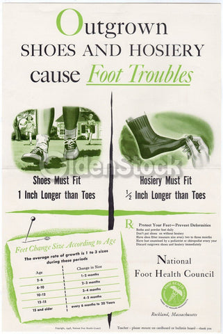 Juvenile Podiatry Vintage National Foot Health Council Educational PSA Poster