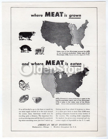 American Meat Institute Cattle Industry Vintage Educational Advertising Poster