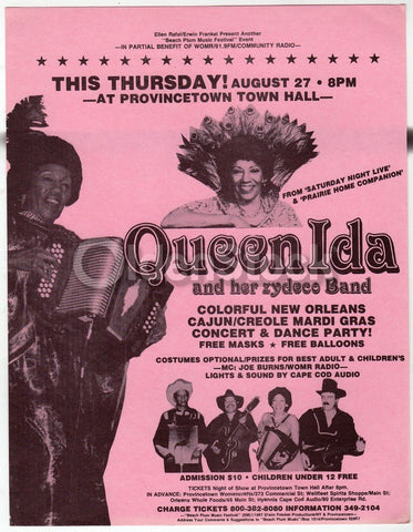 Queen Ida Zydeco Band Vintage Live Music Concert Advertising Poster
