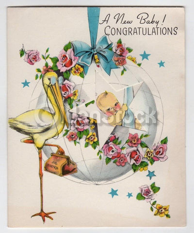Mr. Stork Visit Vintage 1940s Unused New Baby Congratulations Card