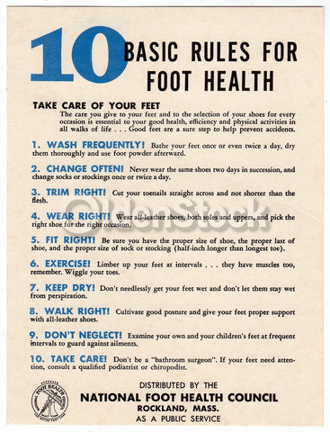 10 Basic Rules for Foot Health Vintage Podiatry Public Service Mini Poster