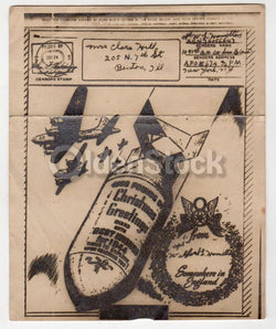 Dropping Christmas Bombs Vintage WWII Graphic Art V-Mail Letter