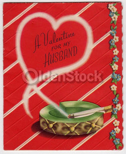 A Valentine for Smoking Husband Vintage 1940s Unused Valentine's Day Card