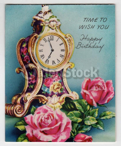 Old Fancy Mantle Clock Vintage Graphic Art Birthday Card