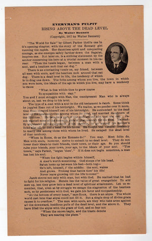 Rising Above the Dead Antique WWI Religious Sermon Broadside Flyer 1917