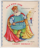 Old King Cole Song Vintage 1940s Unused Happy Birthday Card