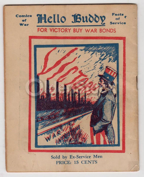 Uncle Sam Patriotic WWII Propaganda Art Vintage 'Hello Buddy' Booklet